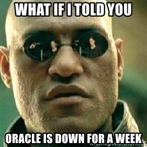 What If I Told You - What if I told you Oracle is down for a week
