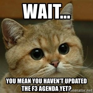 Do you think this is a motherfucking game? - Wait... you mean you haven't updated the F3 agenda yet?