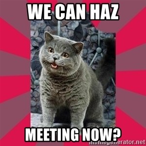 I can haz - We can haz meeting now?
