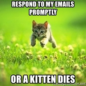 God Kills A Kitten - Respond to my emails promptly  or a kitten dies