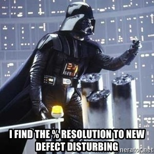 Darth Vader Shaking Fist - I find the % resolution to new defect disturbing