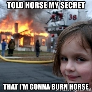 Disaster Girl - told horse my secret that i'm gonna burn horse
