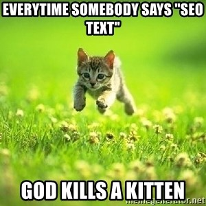 "God Kills A Kitten - Everytime somebody says ""SEO text"" God kills a kitten"