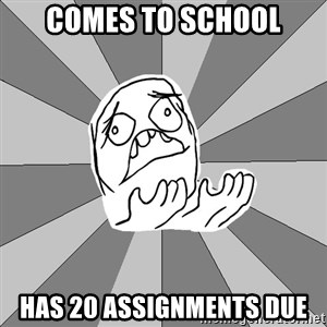 Whyyy??? - Comes to school has 20 assignments due
