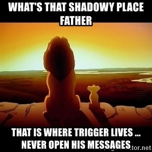 Simba - What's that shadowy place Father  That is where Trigger lives ... never open his messages