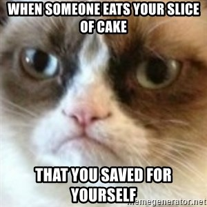 angry cat asshole - When someone eats your slice of cake that you saved for yourself