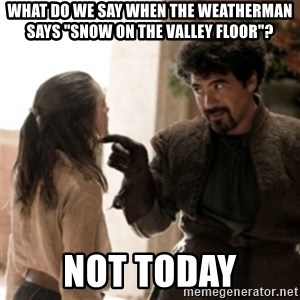 """Not today arya - What do we say when the weatherman says """"snow on the valley floor""""? Not Today"""