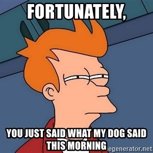 Futurama Fry - Fortunately,  you just said what my dog said this morning