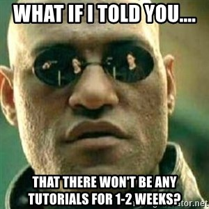 What If I Told You - What if I told you.... that there won't be any tutorials for 1-2 weeks?