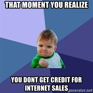 Success Kid - That moment you realize you dont get credit for internet sales