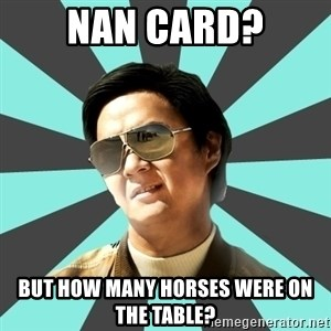 mr chow - NAN Card? But how many horses were on the table?