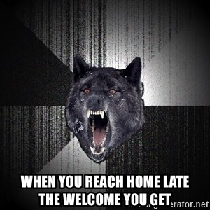 Insanity Wolf - when you reach home late             the welcome you get