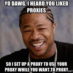 Yo Dawg - Yo dawg, I heard you liked proxies So I set up a proxy to use your proxy while you want to proxy