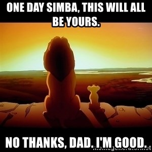Simba - One Day Simba, this will all be yours. No thanks, Dad. I'm good.
