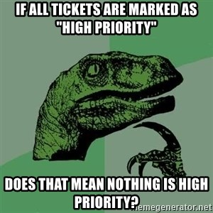 """Raptor - If all tickets are marked as """"High Priority"""" Does that mean nothing is High Priority?"""
