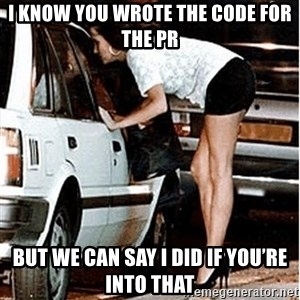 Karma prostitute  - I know you wrote the code for the PR But we can say I did if you're into that