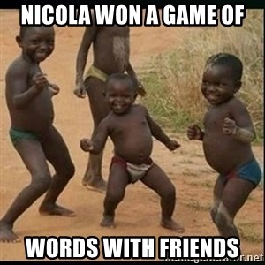 Dancing black kid - Nicola won a game of Words With Friends