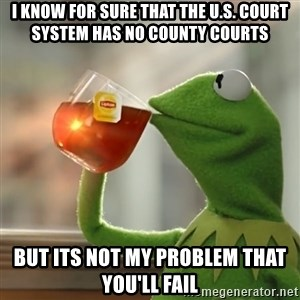 Kermit The Frog Drinking Tea - I know for sure that the U.S. Court system has no County courts  But its not my problem that you'll fail