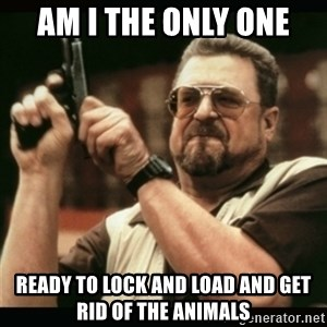 am i the only one around here - Am I the Only One Ready to Lock and Load and get rid of the animals