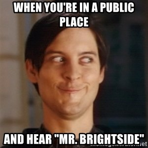 """Peter Parker Spider Man - When you're in a public place And hear """"Mr. Brightside"""""""