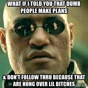 What If I Told You - What if I told you that dumb people make plans  & don't follow thru because that are hung over Lil Bitches