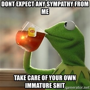 Kermit The Frog Drinking Tea - Dont expect any sympathy from me Take care of your own immature shit