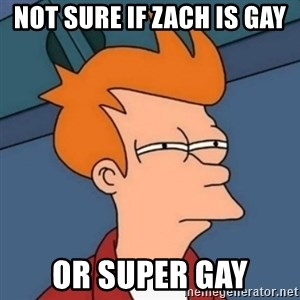 Not sure if troll - not sure if zach is gay or super gay