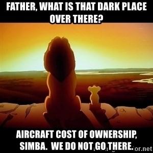 Simba - Father, what is that dark place over there? Aircraft cost of ownership, Simba.  We do not go there.