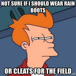 Futurama Fry - Not sure if I should wear rain boots or cleats for the field