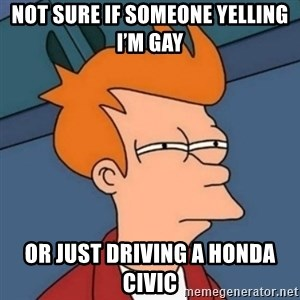 Not sure if troll - Not sure if someone yelling I'm gay Or just driving a Honda Civic
