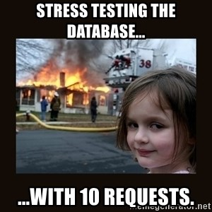 burning house girl - Stress testing the database... ...with 10 requests.