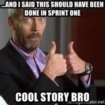cool story bro house - ...and I said this should have been done in sprint one cool story bro