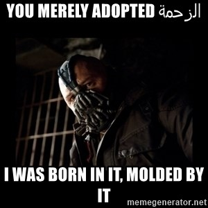 Bane Meme - الزحمة You merely adopted I was born in it, molded by it