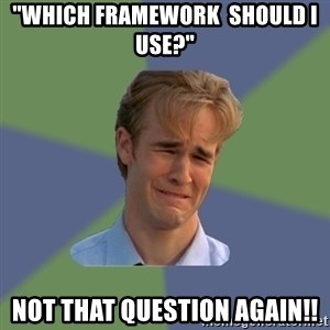"Sad Face Guy - ""Which Framework  should I use?"" Not that question again!!"