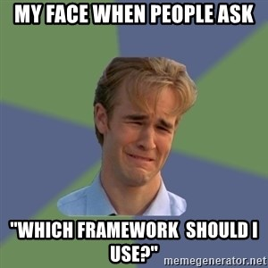 "Sad Face Guy - MY FACE WHen PEOPLE ASK ""Which Framework  should I use?"""