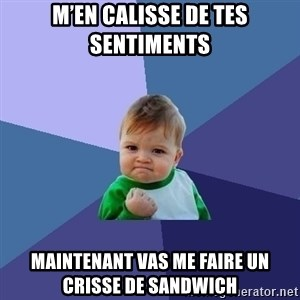 Success Kid - M'en calisse de tes sentiments  Maintenant vas me faire un crisse de sandwich