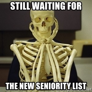 Skeleton waiting - Still waiting for the New Seniority List