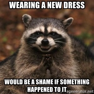 evil raccoon - Wearing a new dress would be a shame if SOMETHING HAPPENED TO IT