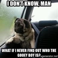introspective pug - I don't know, man what if I never find out who the gooey boy is?