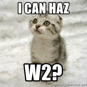Can haz cat - I can haz W2?