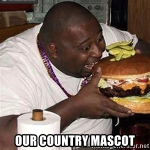 Fat man eating burger - our country mascot