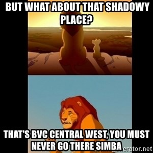 Lion King Shadowy Place - But what about that shadowy place?  That's BVC Central West, You must never go there Simba