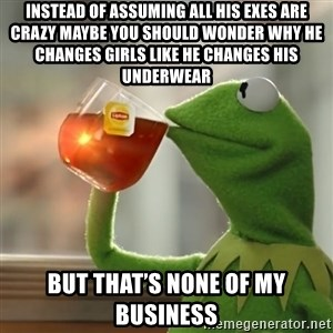 Kermit The Frog Drinking Tea - Instead of assuming all his exes are crazy maybe you should wonder why he changes girls like he changes his underwear But that's none of my business