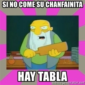 hay tabla - si no come su chanfainita hay tabla