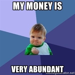 Success Kid - my money is  very abundant