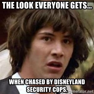 Conspiracy Keanu - The look everyone gets... When chased by Disneyland security cops.