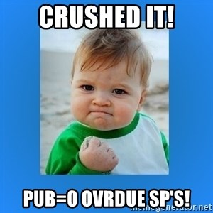 yes baby 2 - Crushed it! PUB=0 ovrdue SP's!