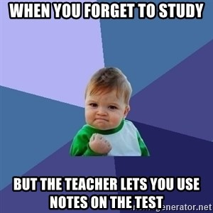 Success Kid - When you forget to study But the teacher lets you use notes on the test