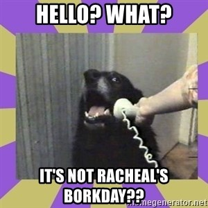 Yes, this is dog! - Hello? What? It's NOT Racheal's borkday??