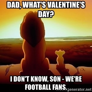simba mufasa - Dad, what's Valentine's day?  I don't know, son - we're football fans.